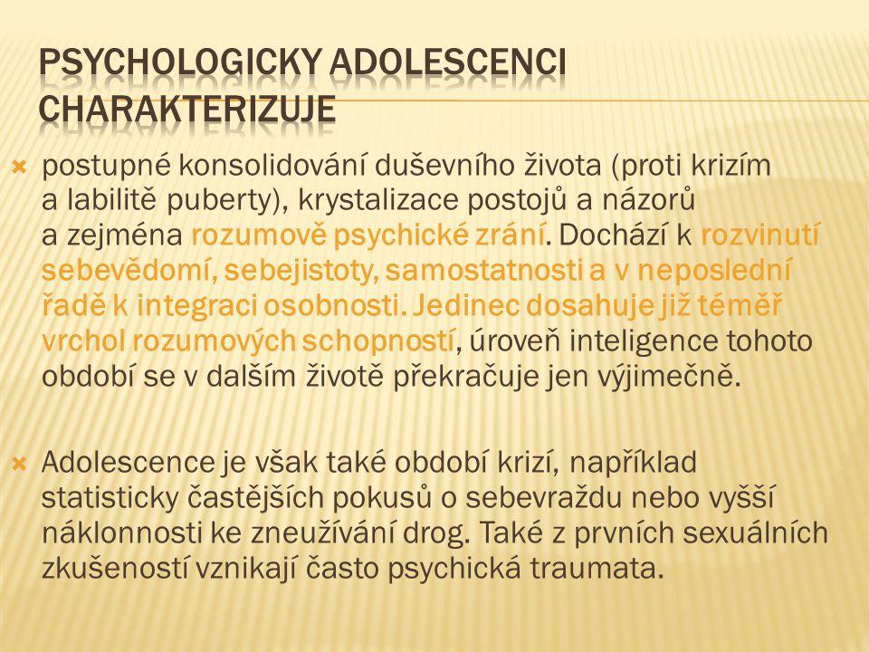  postupné konsolidování duševního života (proti krizím a labilitě puberty), krystalizace postojů a názorů a zejména rozumově psychické zrání. Dochází