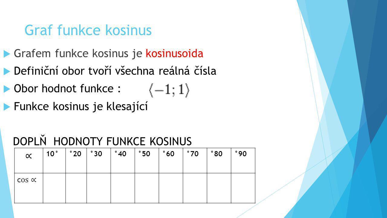 Graf funkce kosinus  Grafem funkce kosinus je kosinusoida  Definiční obor tvoří všechna reálná čísla  Obor hodnot funkce :  Funkce kosinus je klesající DOPLŇ HODNOTY FUNKCE KOSINUS 10°°20°30°40°50°60°70°80°90