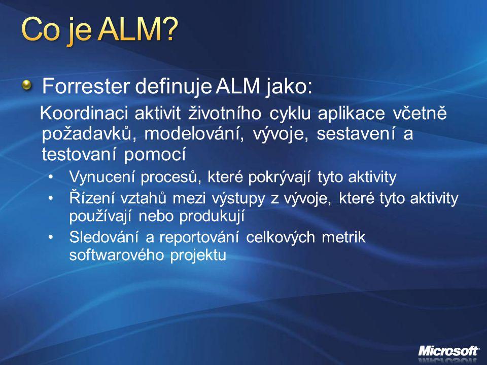 Forrester definuje ALM jako: Koordinaci aktivit životního cyklu aplikace včetně požadavků, modelování, vývoje, sestavení a testovaní pomocí Vynucení p