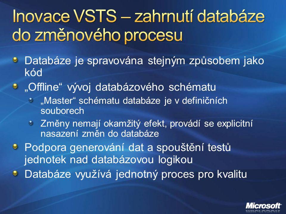 """Databáze je spravována stejným způsobem jako kód """"Offline"""" vývoj databázového schématu """"Master"""" schématu databáze je v definičních souborech Změny nem"""