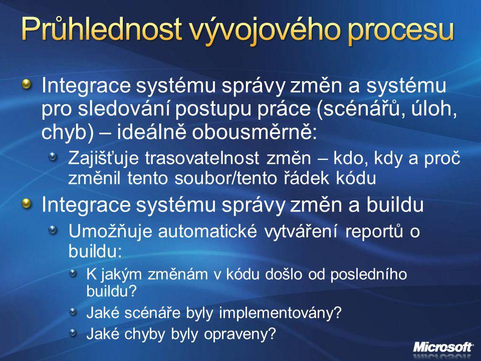 Integrace systému správy změn a systému pro sledování postupu práce (scénářů, úloh, chyb) – ideálně obousměrně: Zajišťuje trasovatelnost změn – kdo, k
