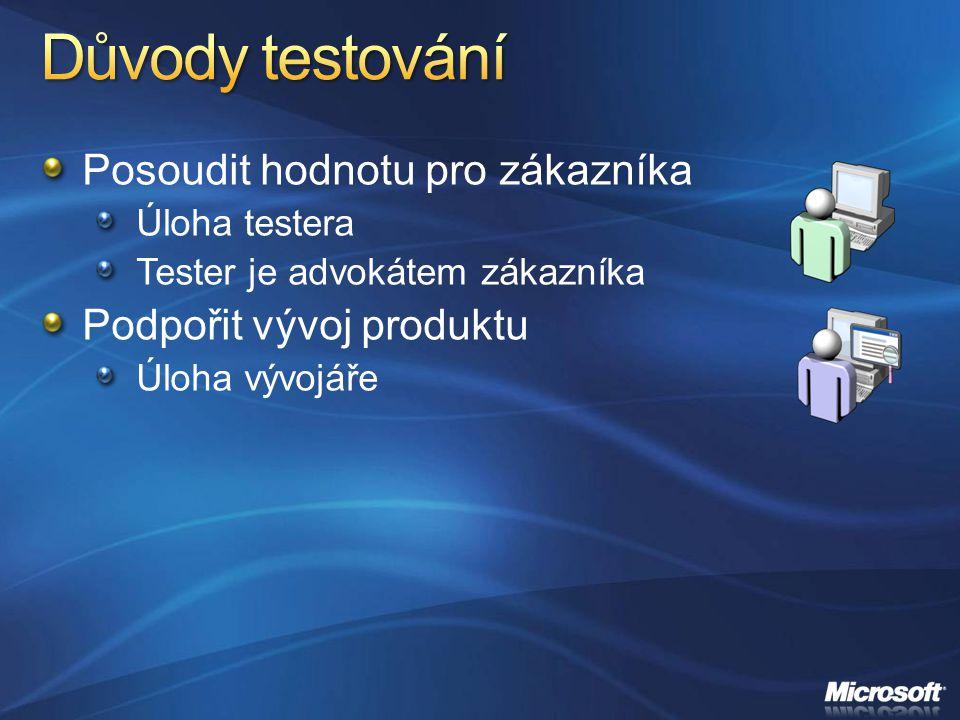 Posoudit hodnotu pro zákazníka Úloha testera Tester je advokátem zákazníka Podpořit vývoj produktu Úloha vývojáře