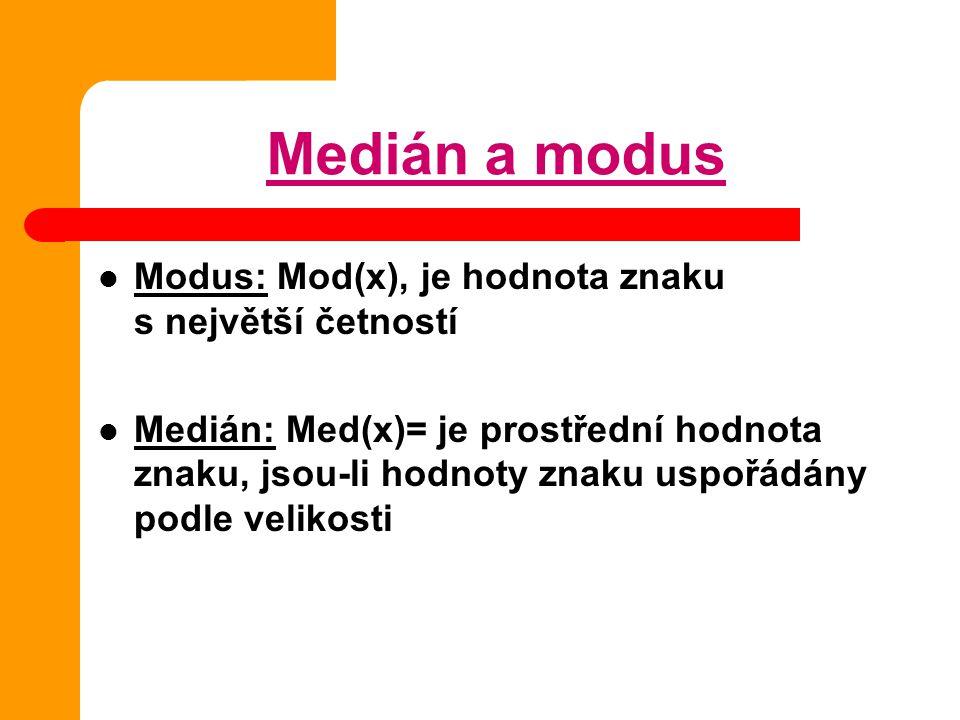 Medián a modus Modus: Mod(x), je hodnota znaku s největší četností Medián: Med(x)= je prostřední hodnota znaku, jsou-li hodnoty znaku uspořádány podle