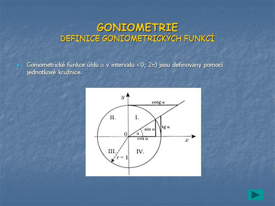 GONIOMETRIE DEFINICE GONIOMETRICKÝCH FUNKCÍ Goniometrické funkce úhlu  v intervalu <0; 2) jsou definovány pomocí jednotkové kružnice.