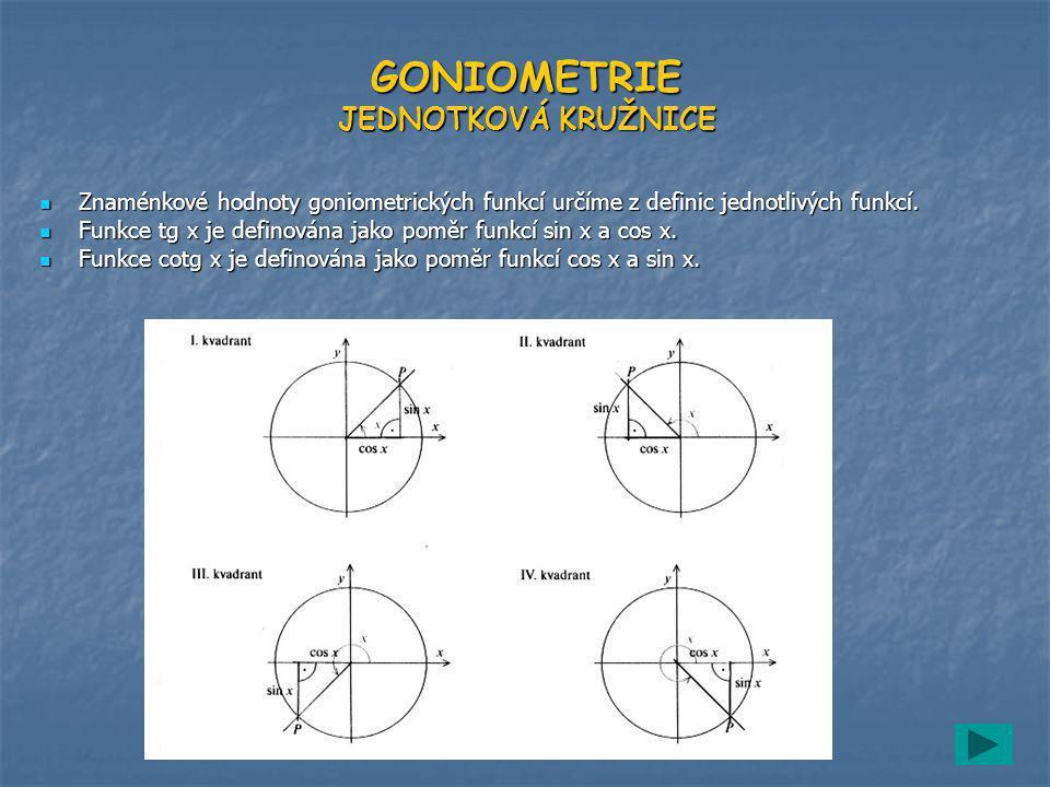 GONIOMETRIE JEDNOTKOVÁ KRUŽNICE Znaménkové hodnoty goniometrických funkcí určíme z definic jednotlivých funkcí.