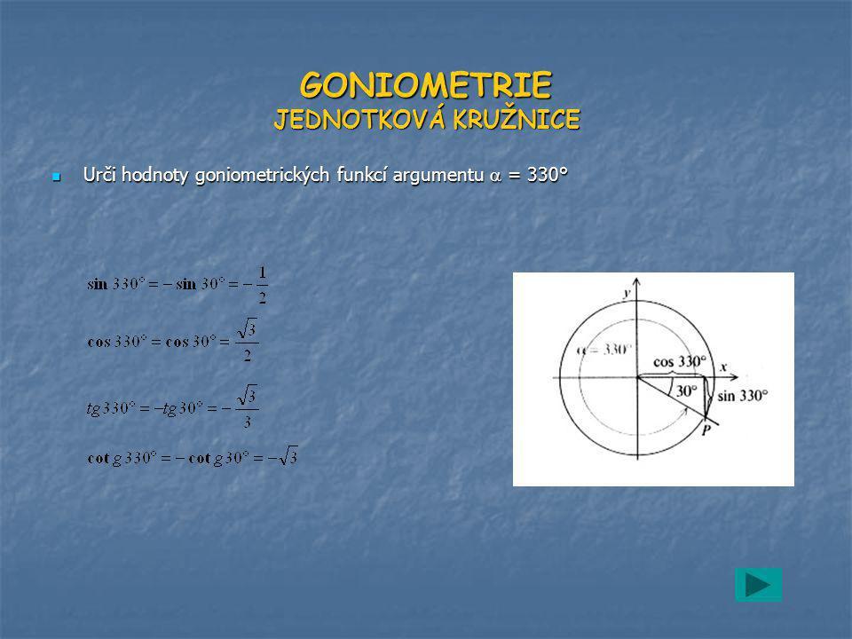 GONIOMETRIE JEDNOTKOVÁ KRUŽNICE Urči hodnoty goniometrických funkcí argumentu  = 330° Urči hodnoty goniometrických funkcí argumentu  = 330°