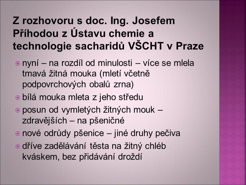 Z rozhovoru s doc. Ing. Josefem Příhodou z Ústavu chemie a technologie sacharidů VŠCHT v Praze  nyní – na rozdíl od minulosti – více se mlela tmavá ž