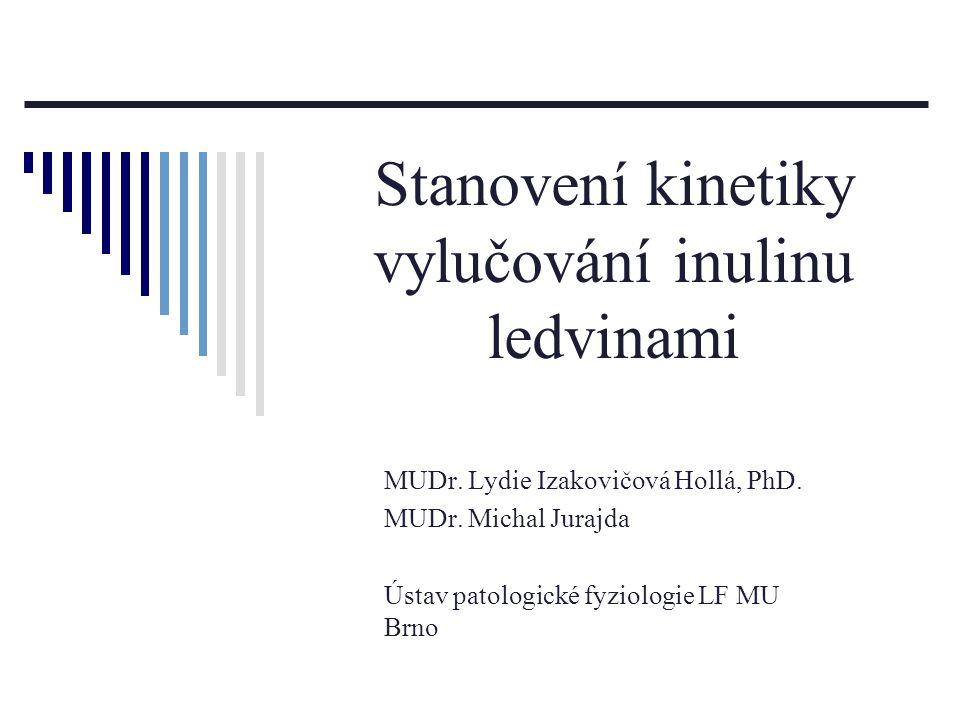 Stanovení kinetiky vylučování inulinu ledvinami MUDr. Lydie Izakovičová Hollá, PhD. MUDr. Michal Jurajda Ústav patologické fyziologie LF MU Brno
