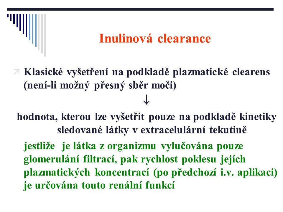 Inulinová clearance ä Klasické vyšetření na podkladě plazmatické clearens (není-li možný přesný sběr moči)  hodnota, kterou lze vyšetřit pouze na pod