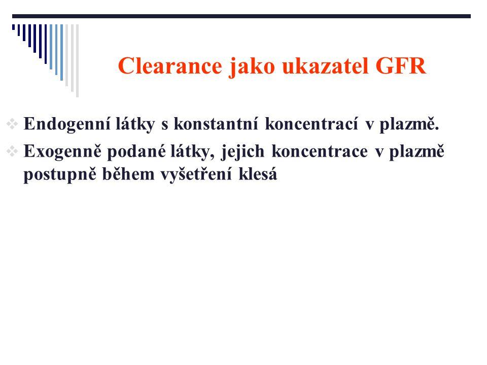 Clearance jako ukazatel GFR  Endogenní látky s konstantní koncentrací v plazmě.  Exogenně podané látky, jejich koncentrace v plazmě postupně během v