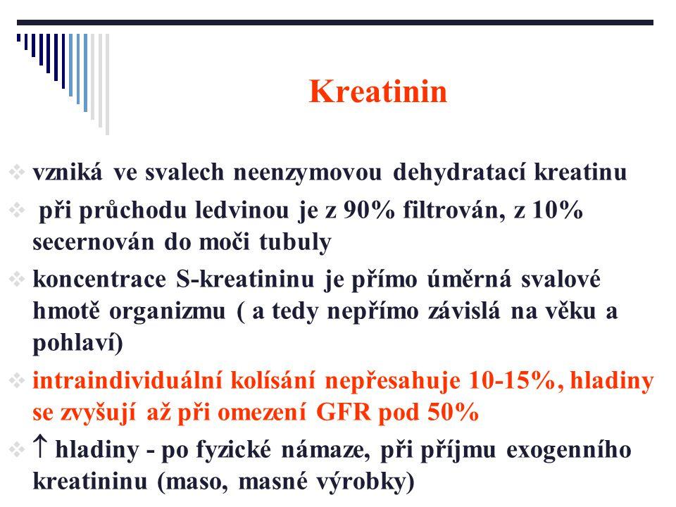 Kreatinin  vzniká ve svalech neenzymovou dehydratací kreatinu  při průchodu ledvinou je z 90% filtrován, z 10% secernován do moči tubuly  koncentra