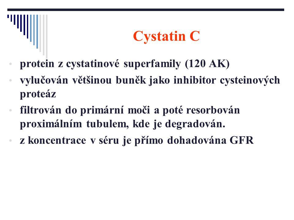 Cystatin C protein z cystatinové superfamily (120 AK) vylučován většinou buněk jako inhibitor cysteinových proteáz filtrován do primární moči a poté r
