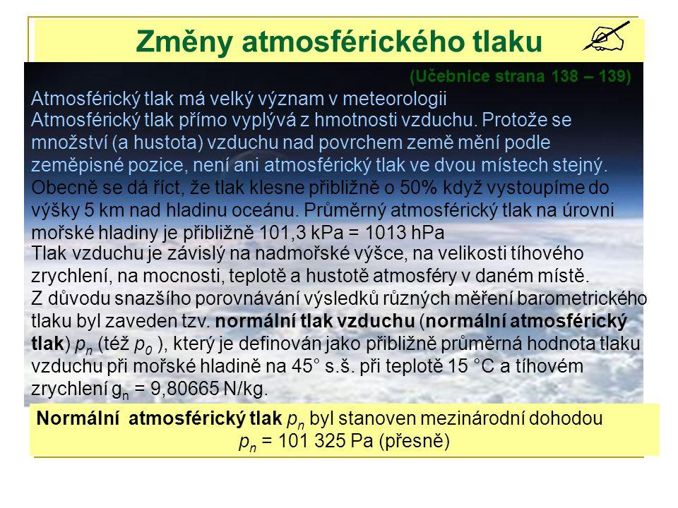 Změny atmosférického tlaku (Učebnice strana 138 – 139) Atmosférický tlak přímo vyplývá z hmotnosti vzduchu. Protože se množství (a hustota) vzduchu na