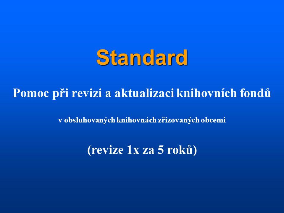 Standard Pomoc při revizi a aktualizaci knihovních fondů v obsluhovaných knihovnách zřizovaných obcemi (revize 1x za 5 roků)