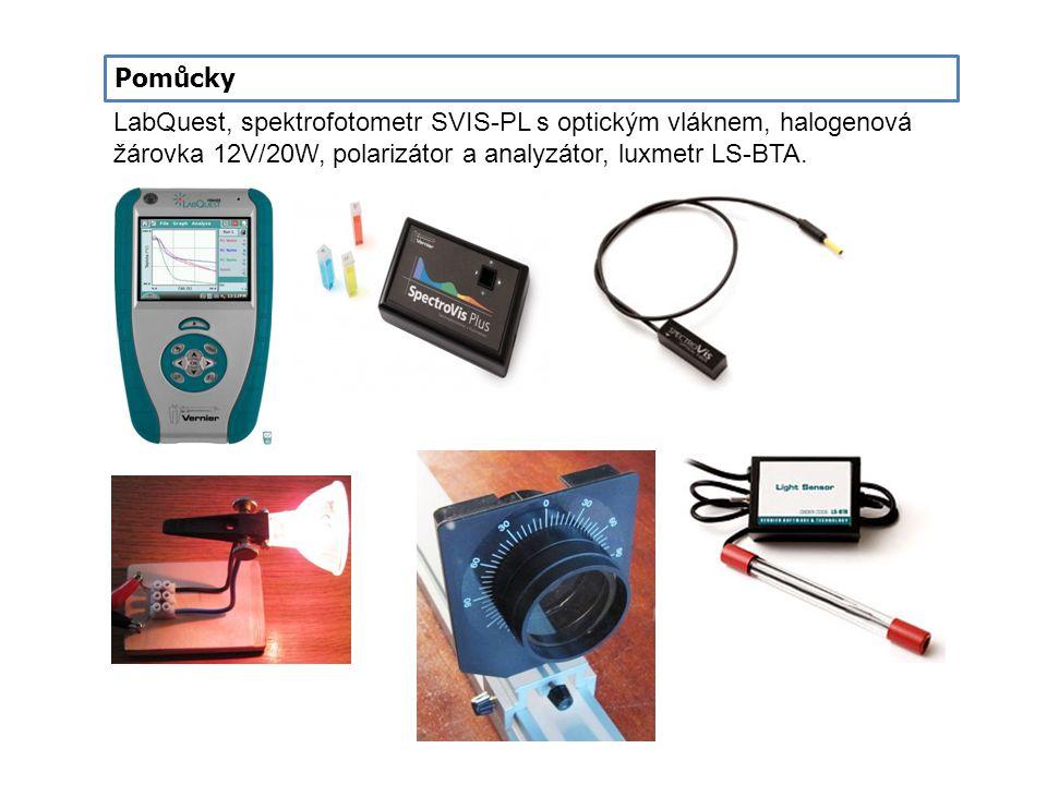 LabQuest, spektrofotometr SVIS-PL s optickým vláknem, halogenová žárovka 12V/20W, polarizátor a analyzátor, luxmetr LS-BTA. Pomůcky