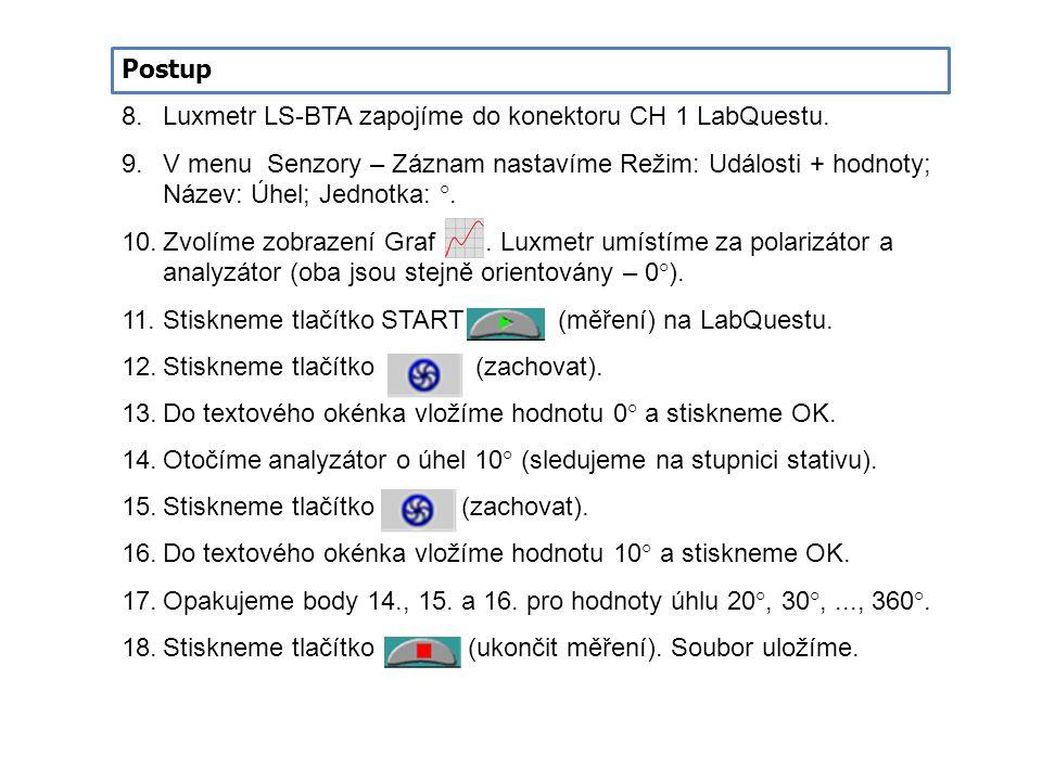 8.Luxmetr LS-BTA zapojíme do konektoru CH 1 LabQuestu. 9.V menu Senzory – Záznam nastavíme Režim: Události + hodnoty; Název: Úhel; Jednotka: °. 10.Zvo