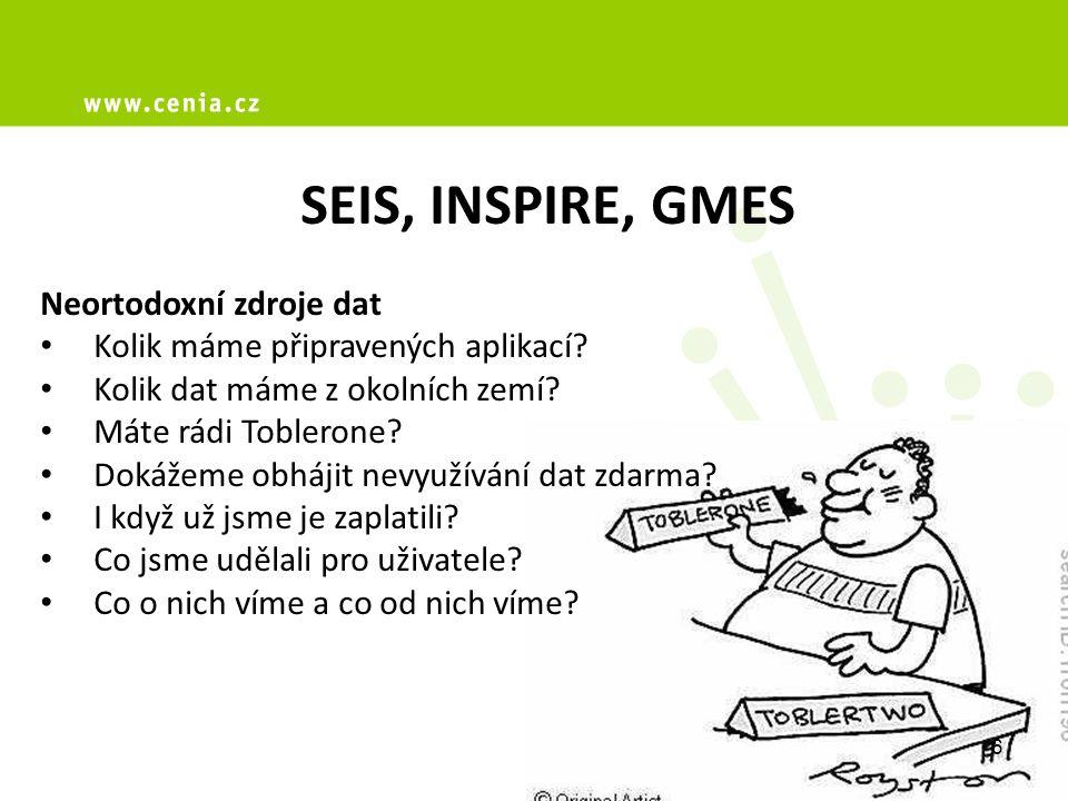 SEIS, INSPIRE, GMES Neortodoxní zdroje dat Kolik máme připravených aplikací.