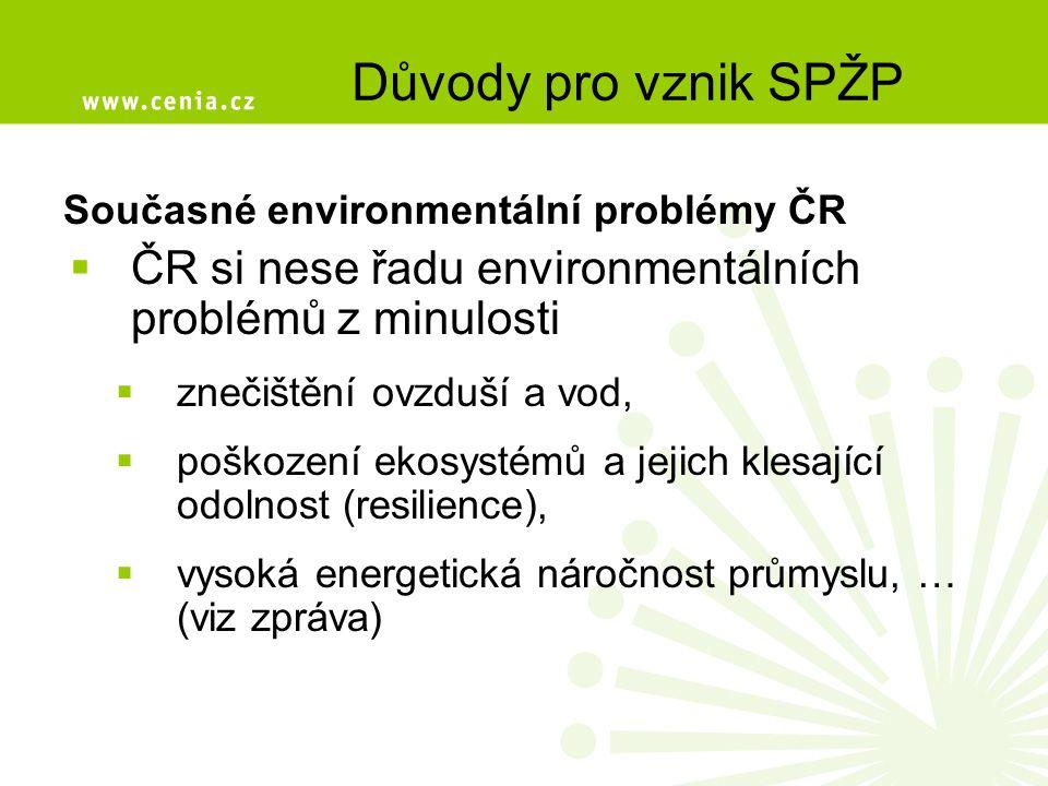 Současné environmentální problémy ČR  ČR si nese řadu environmentálních problémů z minulosti  znečištění ovzduší a vod,  poškození ekosystémů a jejich klesající odolnost (resilience),  vysoká energetická náročnost průmyslu, … (viz zpráva) Důvody pro vznik SPŽP