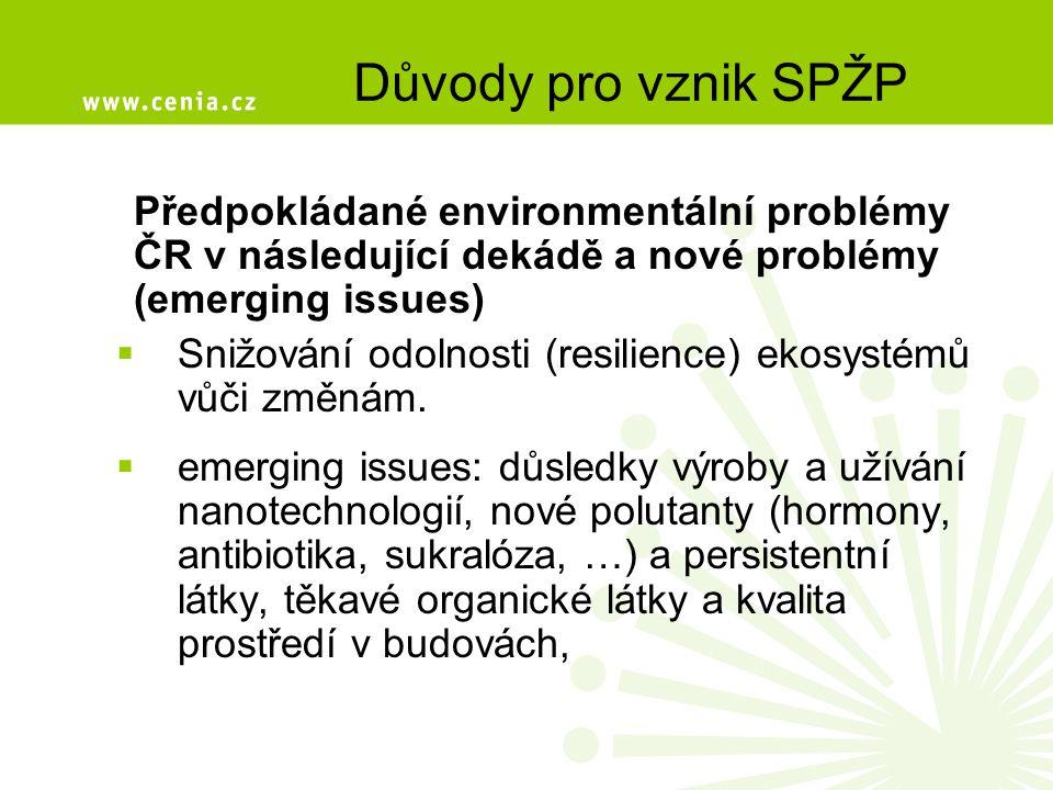 Důvody pro vznik SPŽP Předpokládané environmentální problémy ČR v následující dekádě a nové problémy (emerging issues)  Snižování odolnosti (resilience) ekosystémů vůči změnám.