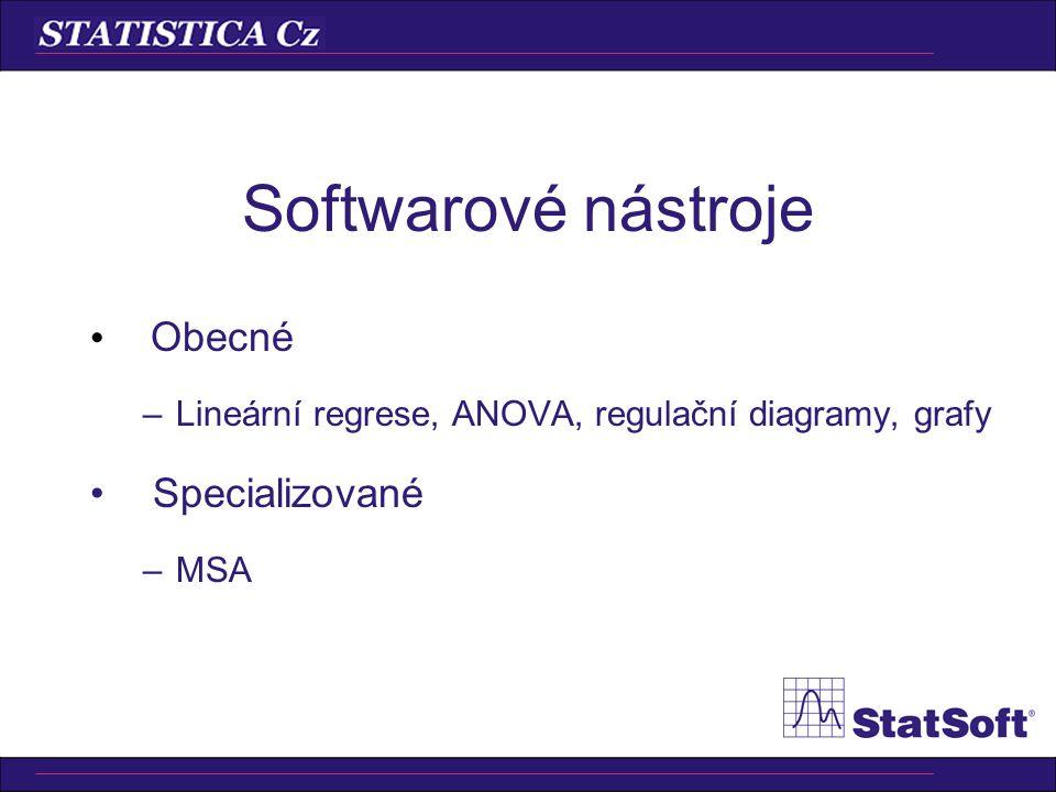 Softwarové nástroje Obecné –Lineární regrese, ANOVA, regulační diagramy, grafy Specializované –MSA