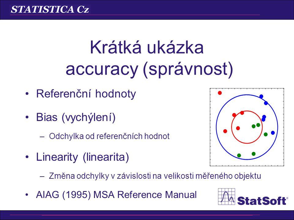 Krátká ukázka accuracy (správnost) Referenční hodnoty Bias (vychýlení) –Odchylka od referenčních hodnot Linearity (linearita) –Změna odchylky v závisl
