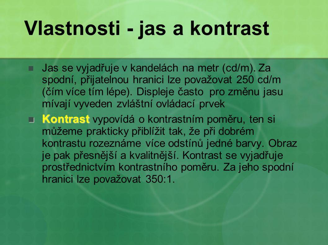 Vlastnosti - jas a kontrast Jas se vyjadřuje v kandelách na metr (cd/m). Za spodní, přijatelnou hranici lze považovat 250 cd/m (čím více tím lépe). Di