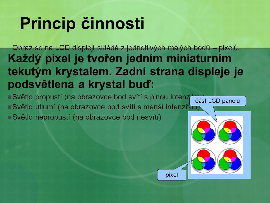 Princip činnosti Obraz se na LCD displeji skládá z jednotlivých malých bodů – pixelů. Každý pixel je tvořen jedním miniaturním tekutým krystalem. Zadn
