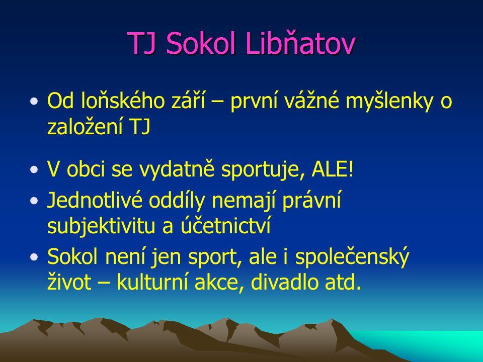 TJ Sokol Libňatov Od loňského září – první vážné myšlenky o založení TJ V obci se vydatně sportuje, ALE.