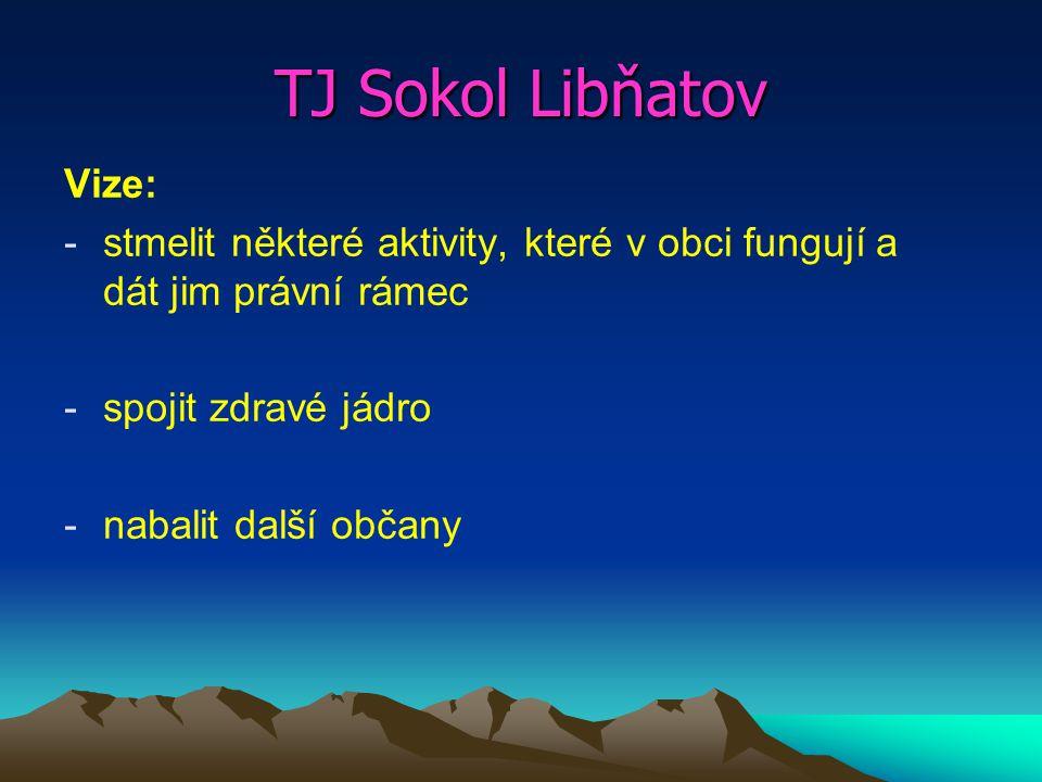 TJ Sokol Libňatov Vize: -stmelit některé aktivity, které v obci fungují a dát jim právní rámec -spojit zdravé jádro -nabalit další občany