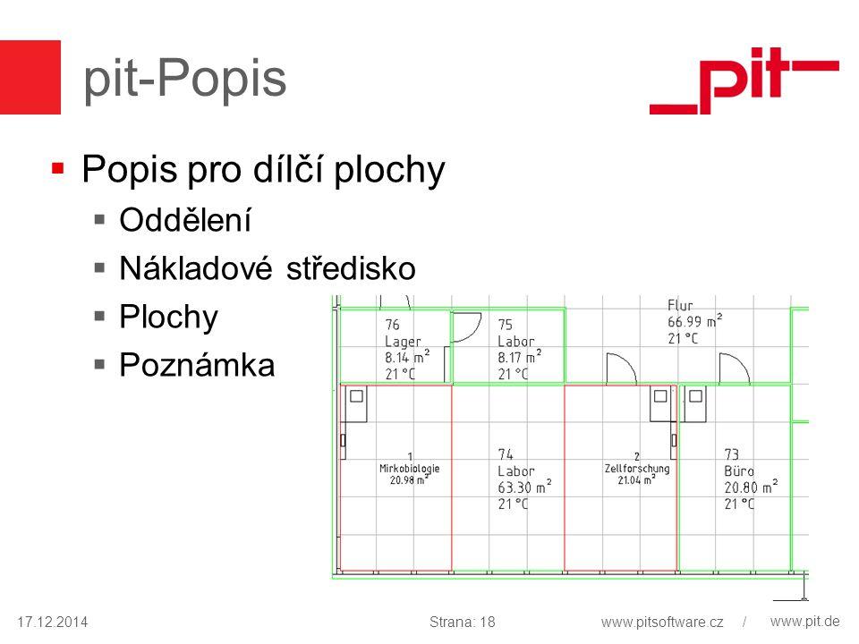 www.pit.de pit-Popis  Popis pro dílčí plochy  Oddělení  Nákladové středisko  Plochy  Poznámka 17.12.2014Strana: 18www.pitsoftware.cz /