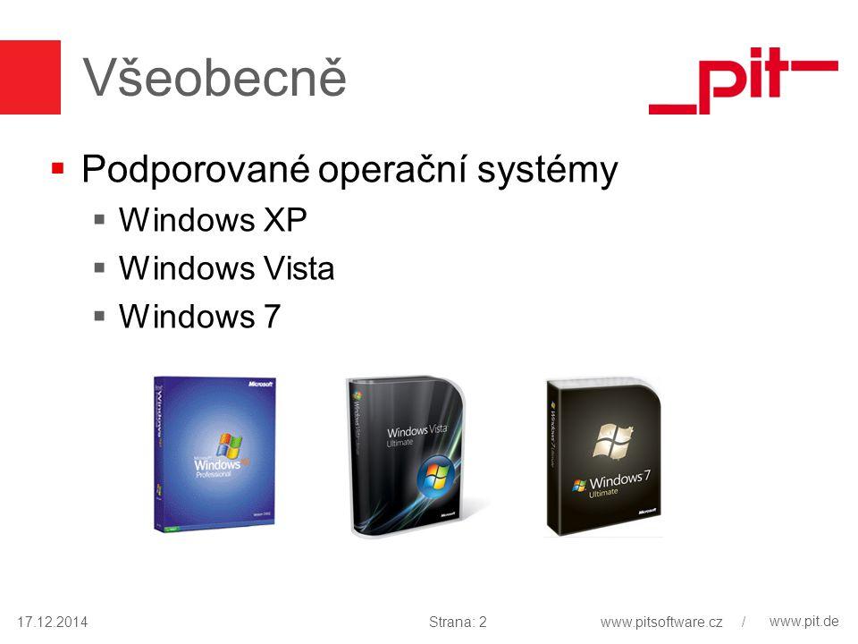 www.pit.de Všeobecně  Podporované operační systémy  Windows XP  Windows Vista  Windows 7 17.12.2014Strana: 2www.pitsoftware.cz /