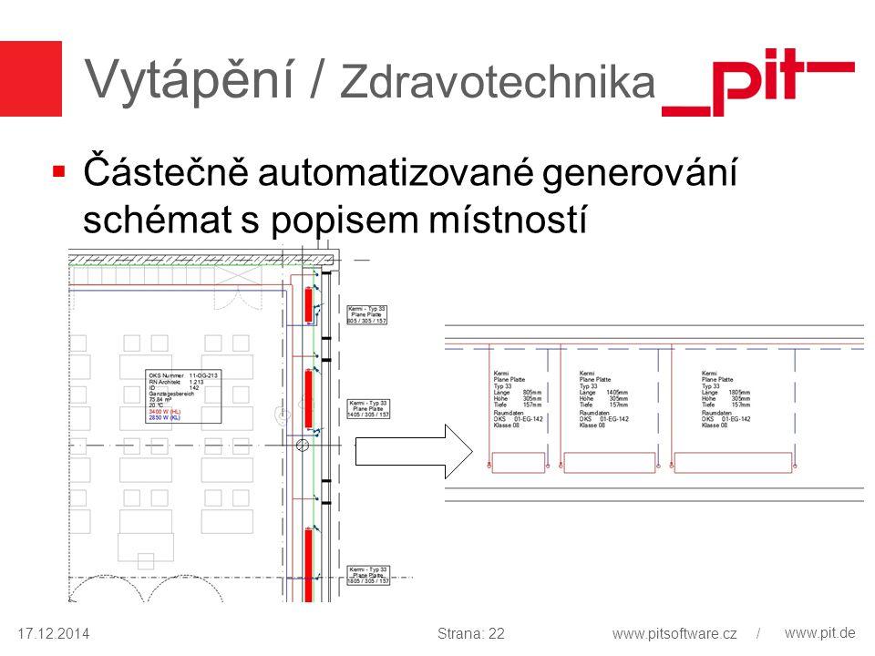 www.pit.de Vytápění / Zdravotechnika  Částečně automatizované generování schémat s popisem místností 17.12.2014Strana: 22www.pitsoftware.cz /