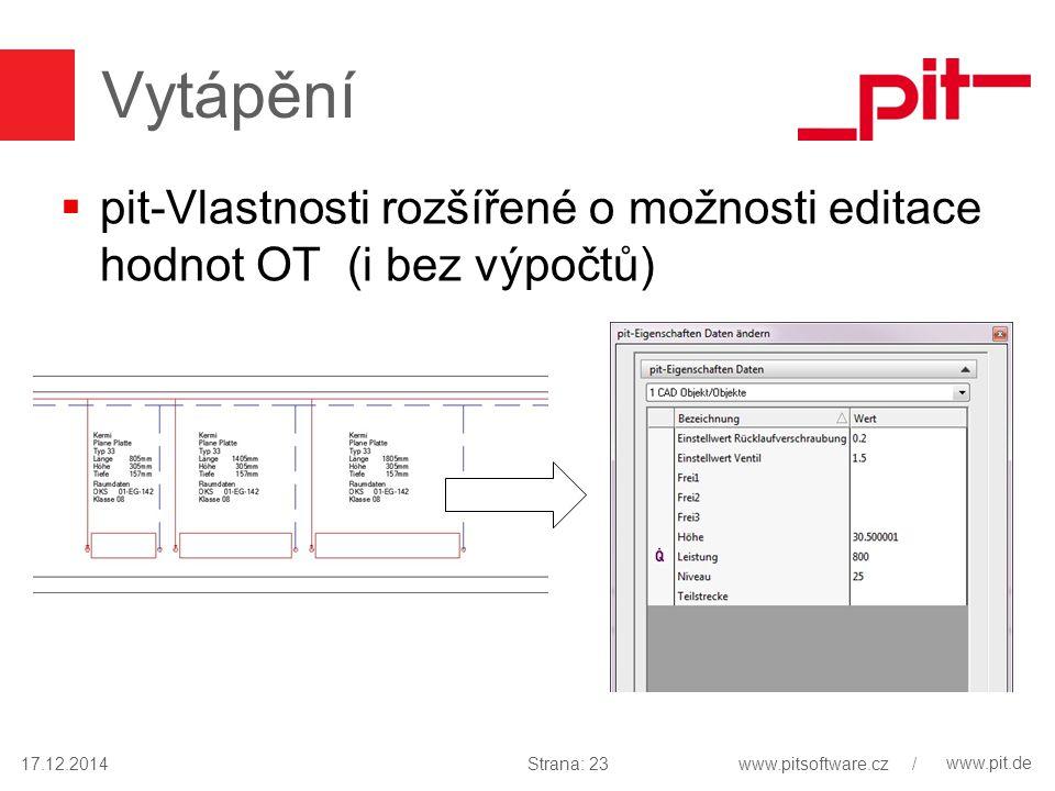 www.pit.de Vytápění  pit-Vlastnosti rozšířené o možnosti editace hodnot OT (i bez výpočtů) 17.12.2014Strana: 23www.pitsoftware.cz /