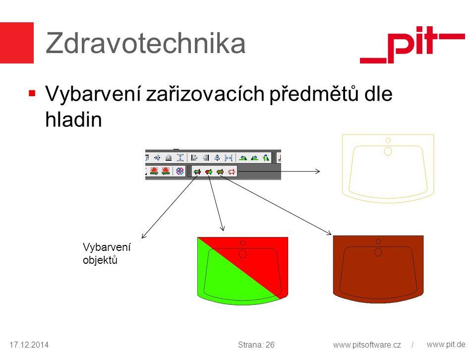 www.pit.de Zdravotechnika  Vybarvení zařizovacích předmětů dle hladin 17.12.2014 Vybarvení objektů Strana: 26www.pitsoftware.cz /