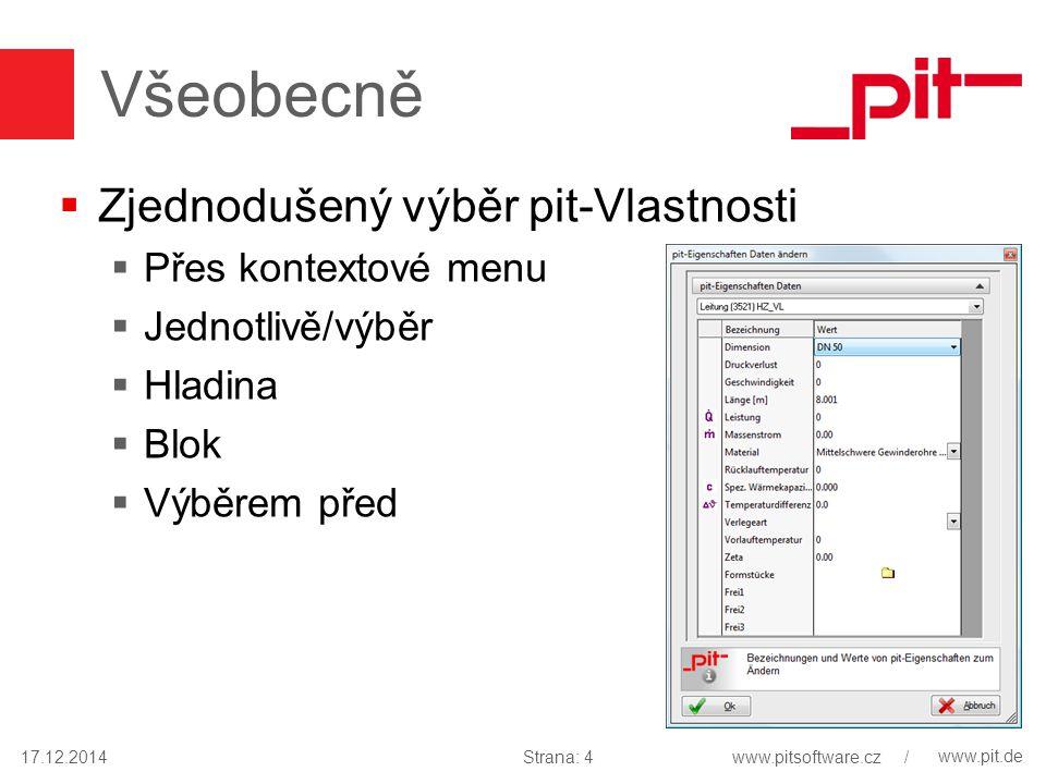 www.pit.de Všeobecně  Zjednodušený výběr pit-Vlastnosti  Přes kontextové menu  Jednotlivě/výběr  Hladina  Blok  Výběrem před 17.12.2014Strana: 4www.pitsoftware.cz /