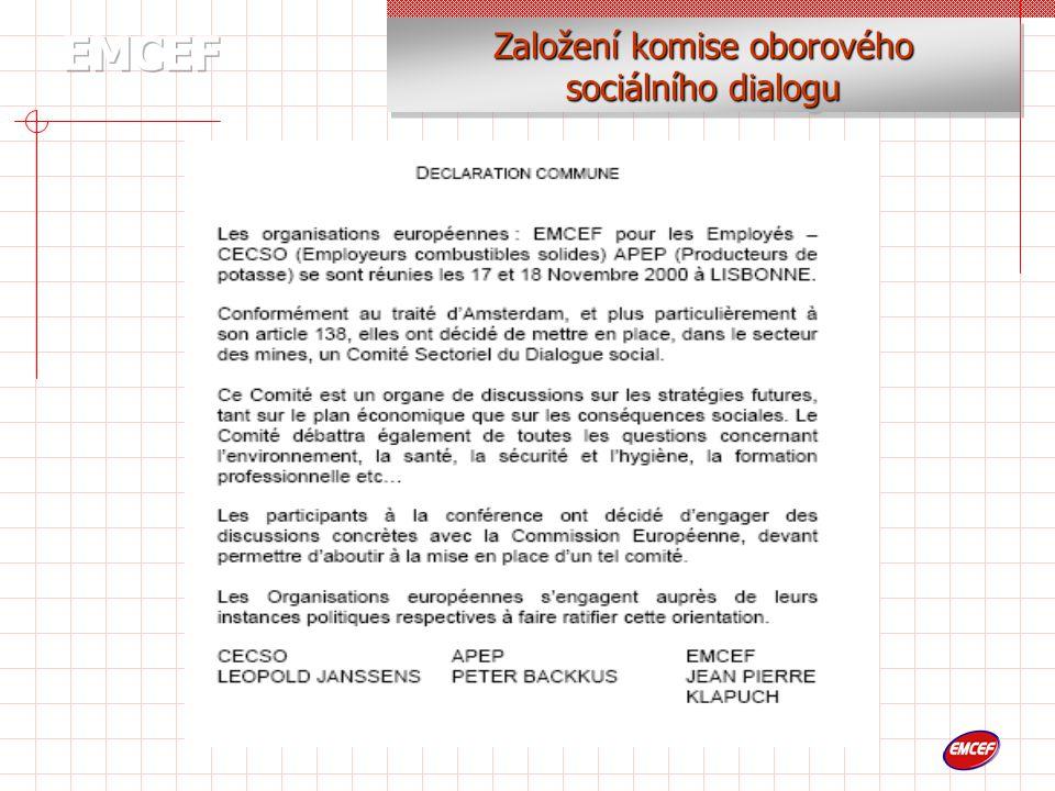 Založení komise oborového sociálního dialogu Založení komise oborového sociálního dialogu