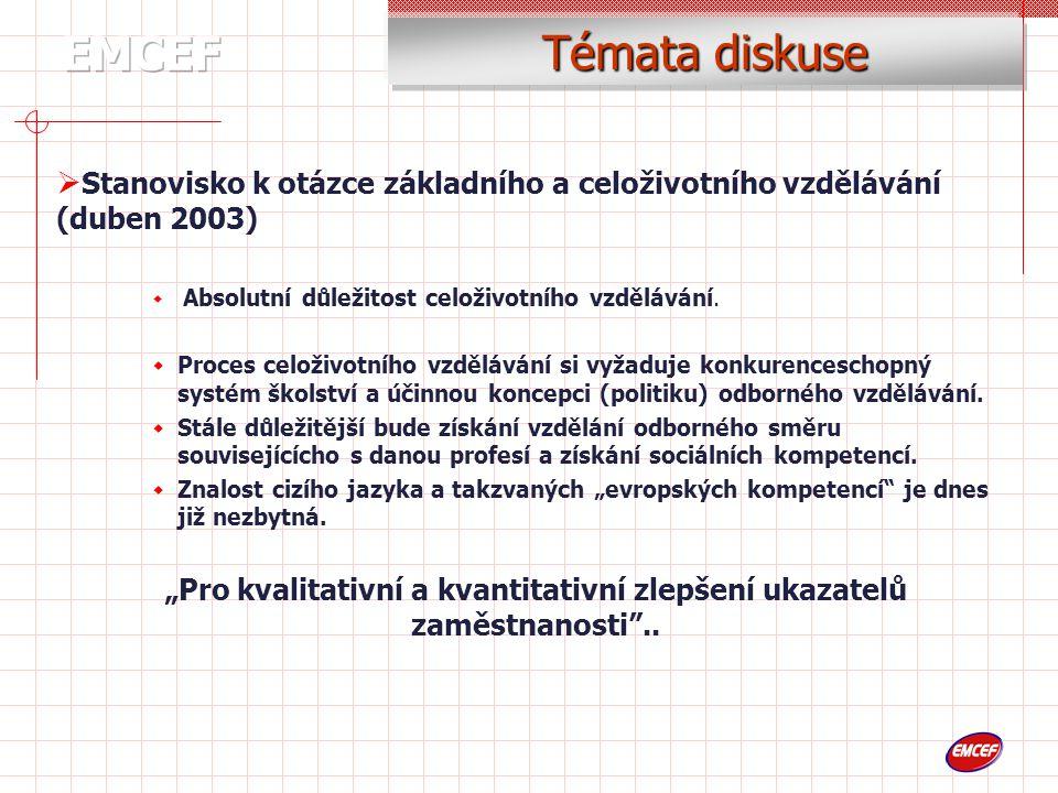 Témata diskuse  Stanovisko k otázce základního a celoživotního vzdělávání (duben 2003)  Absolutní důležitost celoživotního vzdělávání.