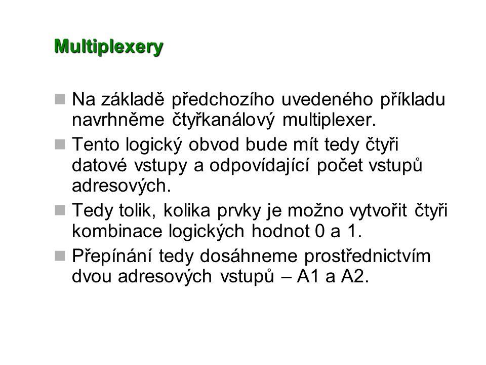 Multiplexery Na základě předchozího uvedeného příkladu navrhněme čtyřkanálový multiplexer. Tento logický obvod bude mít tedy čtyři datové vstupy a odp