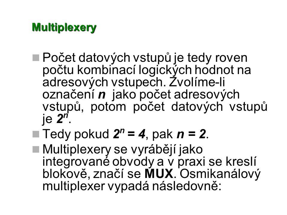 Multiplexery Počet datových vstupů je tedy roven počtu kombinací logických hodnot na adresových vstupech. Zvolíme-li označení n jako počet adresových