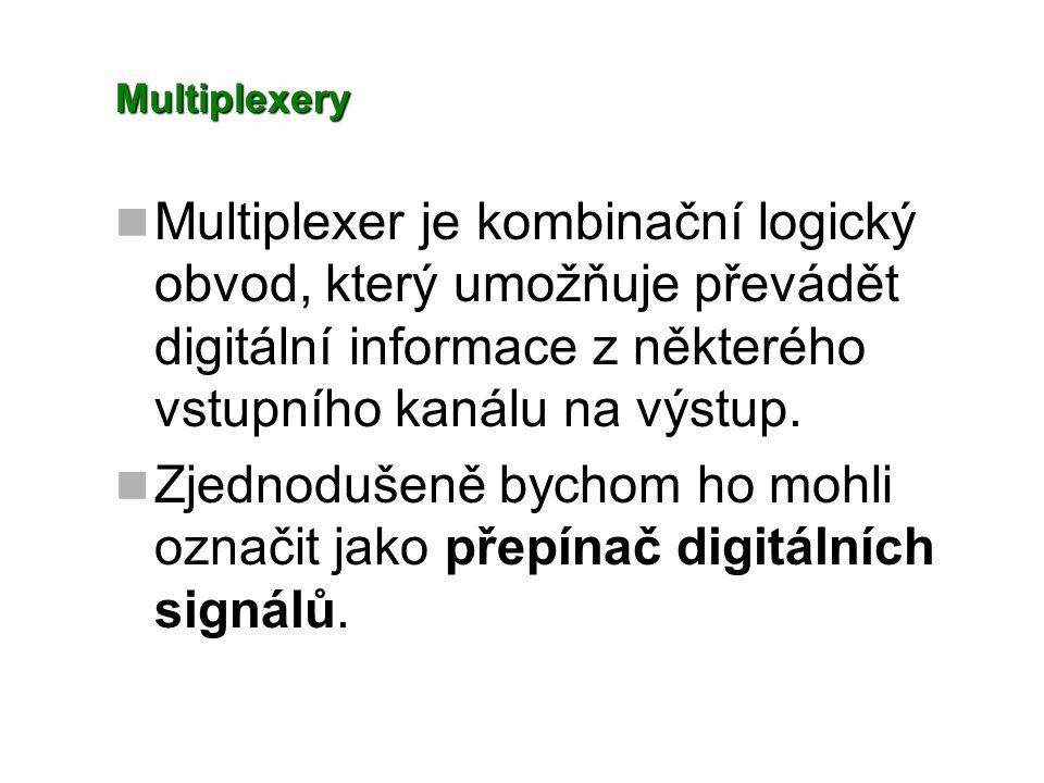 Multiplexery Multiplexer je kombinační logický obvod, který umožňuje převádět digitální informace z některého vstupního kanálu na výstup. Zjednodušeně