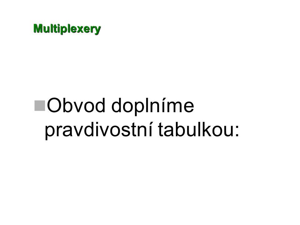Multiplexery Obvod doplníme pravdivostní tabulkou: