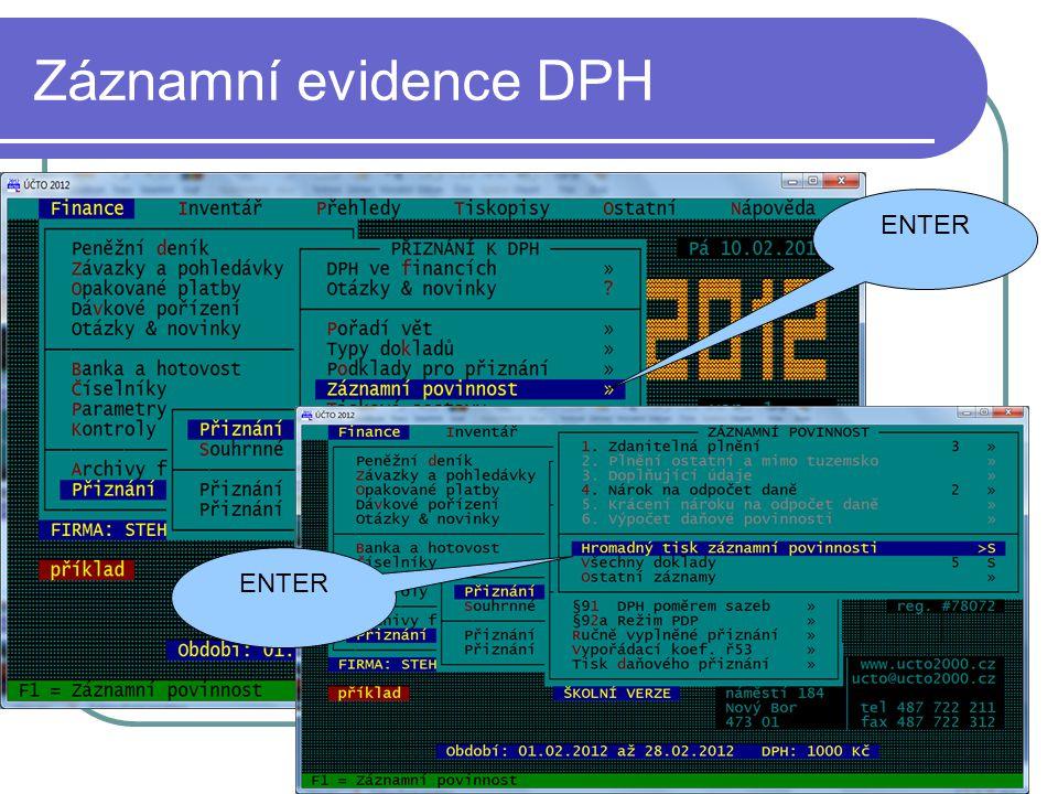 Záznamní evidence DPH ENTER