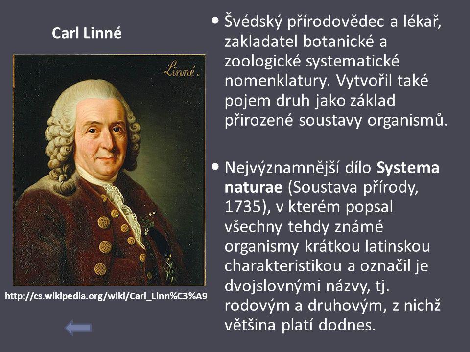 Carl Linné Švédský přírodovědec a lékař, zakladatel botanické a zoologické systematické nomenklatury. Vytvořil také pojem druh jako základ přirozené s