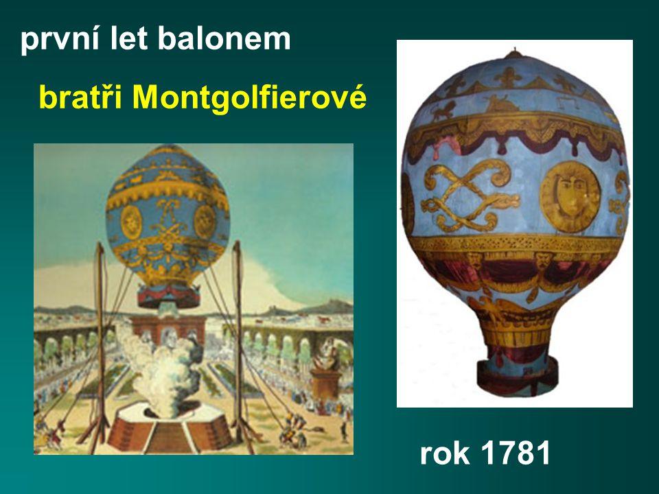 rok 1781 první let balonem bratři Montgolfierové