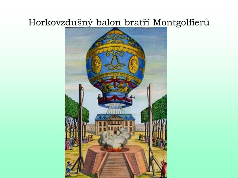 Joseph a Etienne Montgolfierovi - náhodný objev - u krbu sušící se hedvábné šaty paní Montgolfierové - nadnášející se - nápad naplnit papírový balon horkým vzduchem 1783 předvedli králi Ludvíku XVI.