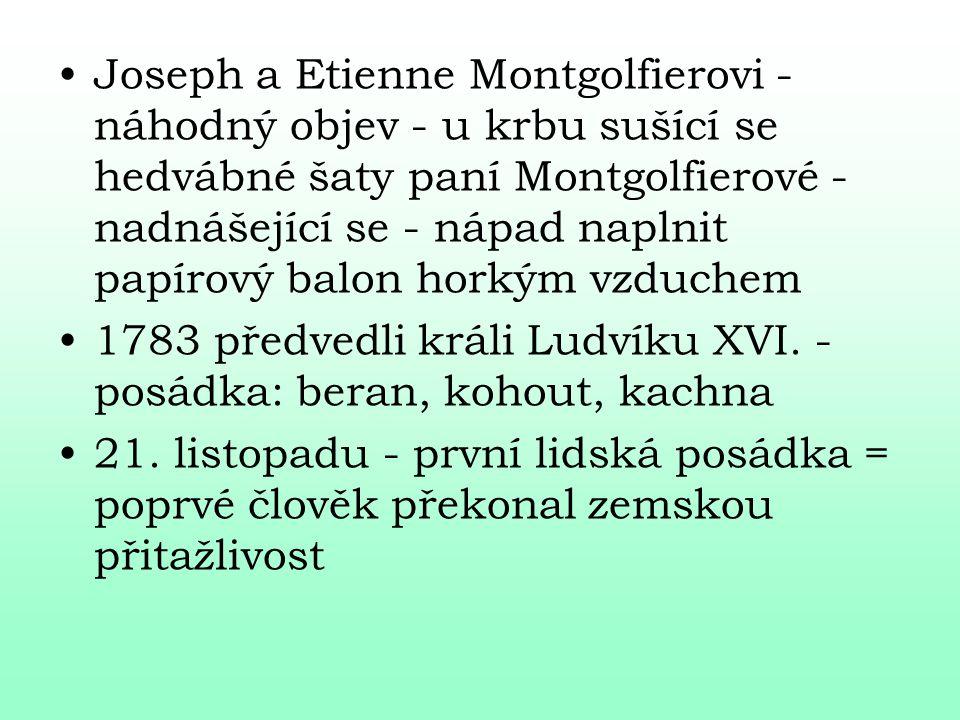 Joseph a Etienne Montgolfierovi - náhodný objev - u krbu sušící se hedvábné šaty paní Montgolfierové - nadnášející se - nápad naplnit papírový balon h