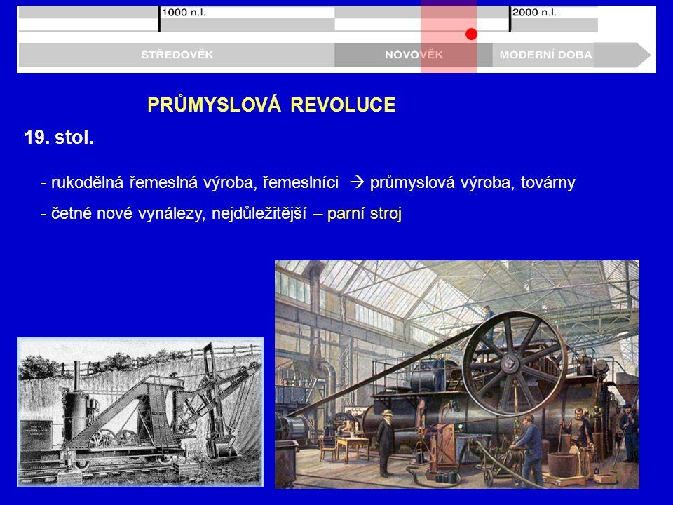 19. stol. PRŮMYSLOVÁ REVOLUCE - rukodělná řemeslná výroba, řemeslníci  průmyslová výroba, továrny - četné nové vynálezy, nejdůležitější – parní stroj