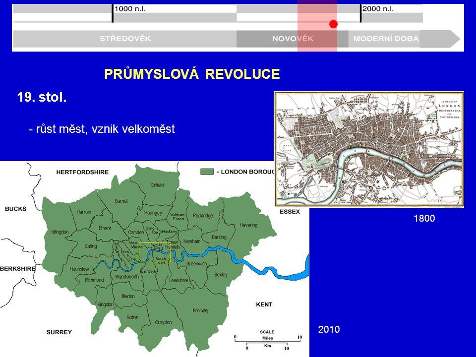 19. stol. PRŮMYSLOVÁ REVOLUCE - růst měst, vznik velkoměst 1800 2010