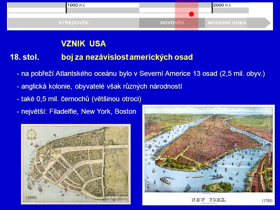 18. stol. VZNIK USA - na pobřeží Atlantského oceánu bylo v Severní Americe 13 osad (2,5 mil. obyv.) - anglická kolonie, obyvatelé však různých národno