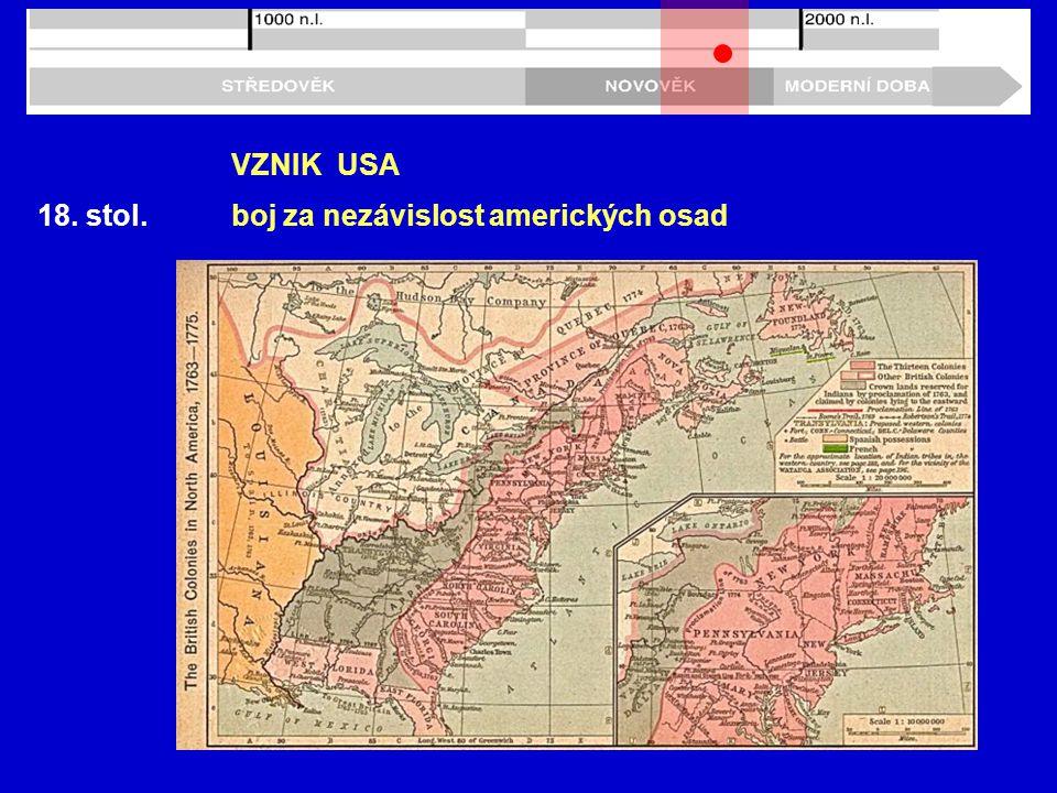 18. stol. VZNIK USA boj za nezávislost amerických osad